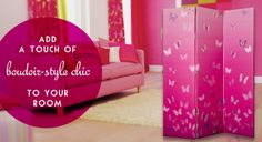 Add a touch of boudoir-style chic to your bedroom – three-panel room divider with pretty butterfly design Boudoir Style, Panel Room Divider, Butterfly Design, Easy Gifts, Home And Garden, Ads, Touch, Bedroom, Chic