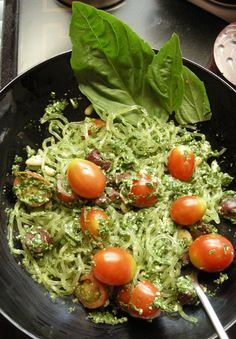 Kelp or Zucchini noodles with Spinach Pesto. This is my pic of Kelp noodles with spinach pesto. I added pine nuts, tomatoes and kalamata olives. Love it! This pesto would also be great with crostini bread toasted with Irish cheddar or Fontina or a nut cheese if you want to keep it raw. :)