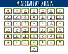 Minecraft Food Labels - Minecraft Food Tents - Birthday Party Buffet - Minecraft Party Decoration by LittleLight, $4.50 USD