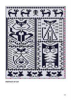 Cat Figura - maomao - I azione del cuore Beaded Cross Stitch, Cross Stitch Charts, Cross Stitch Patterns, Knitting Charts, Knitting Stitches, Knitting Patterns, Crochet Chart, Filet Crochet, Mochila Crochet