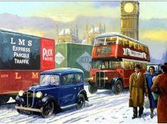 On the road (motoring) Automotive Art, Car Ins, Buses, Glasgow, Transportation, Nostalgia, Vehicles, Christmas, Painting