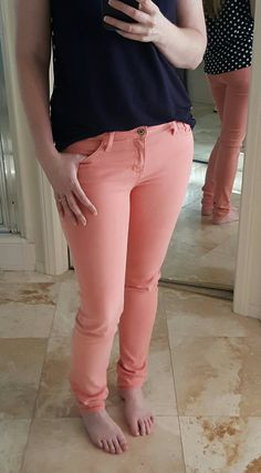 2nd April 2016 stitch fix. Just Black Adorra Skinny Jean in peach/coral. $88 kept. Kept all 5 - this fix was just what I asked for. Love the top with these too - see my other pin.
