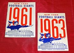 new york giants 1961 and 1963 #NFL #Football press radio and television guide lot from $10.0