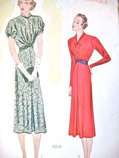 modèle de robe des années 1930 par Pictorial Review 9352 Buste 40