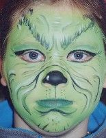 The Grinch face painting for kids Dr. Kids Grinch Costume, Grinch Halloween, Dr Seuss Costumes, Le Grinch, Grinch Christmas Party, Grinch Party, Book Day Costumes, Holidays Halloween, Halloween Make Up