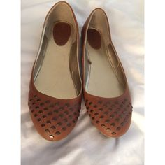 Brown Studded Flats Worn once to try on in-store. Brown studded flats perfect for fall! Size 10. Shoes Flats & Loafers