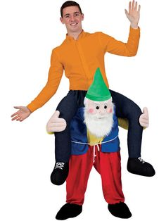 1265deb33a6 Carry Me Piggy Back Gnome Funny Adults Mascot Fancy Dress Up Party Dwarf  Costume