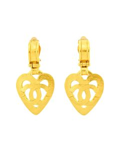 5c4dc315ad1 Chanel Vintage Brushed Gold CC Logo Heart Earrings