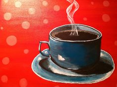 """Coffee or Tea"" acrylic painting by jonna wormald for PaintNite.com"
