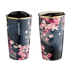 Starbucks 2016 Sakura Travel To-Go Dark Night Mug 12 oz mug / double wall Sold out already in stores Purchased directly in Starbucks, authentic Copo Starbucks, Starbucks Tumbler, Starbucks Drinks, Starbucks Coffee Cups, Coffee Thermos, Coffee Tumbler, Coffee Drinks, Starbucks Taiwan, Cute Water Bottles
