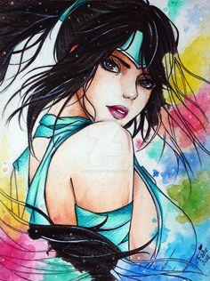 Akali Watercolors by Krystal89IT.deviantart.com on @DeviantArt