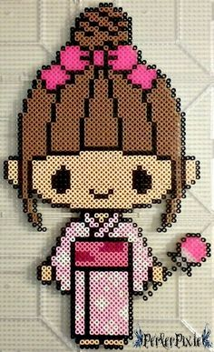 Kimono Girl perler beads by PerlerPixie Best Picture For Kimono plus size For Your Taste You are looking for something, and it is going to tell you exactly what you are looking for, and you didn't fin Perler Beads, Fuse Beads, Hama Beads Kawaii, Pearler Bead Patterns, Perler Patterns, Loom Beading, Beading Patterns, 8bit Art, Hama Beads Design