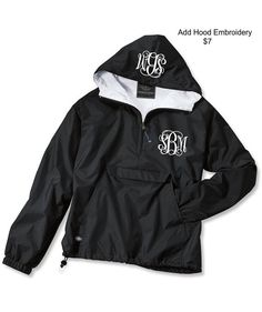 Black Monogrammed Personalized Half Zip Rain Jacket von LifeAStitch