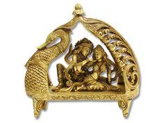 Radha Krishna sitting in swan