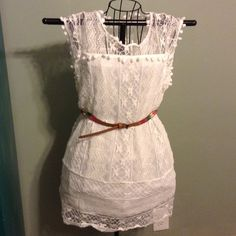 """Lace dress New white lace dress. Size large.  16"""" wide and 30"""" long from shoulders.  Also available in medium, small, and x-small. Dresses Mini"""