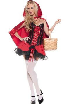 f6c14a6794 Sexy Red Riding hood Costume includes lace up corset top with a sweetheart  neckline