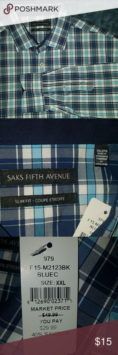 NWT Saks Fifth Ave Mens Slim Fit Dress Shirt XXL Perfect condition!  Navy, light blue and white Slim Fit 100% cotton Armpit to armpit - 27 in Shoulder to wrist - 27 in Saks Fifth Avenue Shirts Casual Button Down Shirts