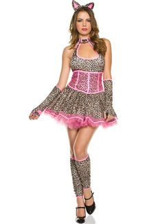 7924460df83a Sexy Music Legs Brown Black Pink Pretty Leopard Jungle Feline Kitten Kitty  Cat Party Halloween Costume