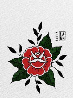 Traditional Tattoo Flowers, Traditional Tattoo Old School, Traditional Tattoo Design, Traditional Roses, Rosa Old School, Old School Rose, Tattoo Flash Art, Tatoo Art, Tattoo Sketches
