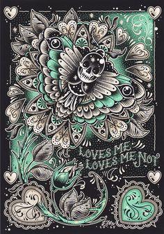 CREEP HEART LOVES ME, LOVES ME NOT PRINT $15.00 #creepheart #moth #art #print #valentine
