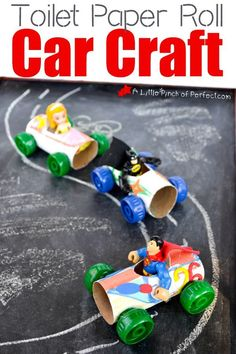 These toilet paper roll car crafts from A Little Pinch of Perfect are the perfect create-and-play craft for little hands. Gather up some recycled materials plus paint and markers to decorate, and you can have fun making this with your little one for their independent play. Kids will love decorating and racing their homemade cars! #toddlers #craftsforkids #toiletpaperroll #recycled #kids #kidsactivity Recycling For Kids, Diy For Kids, Recycling Activities For Kids, Craft Activities, Preschool Crafts, Kids Crafts, Craft Kids, Space Activities, Space Crafts