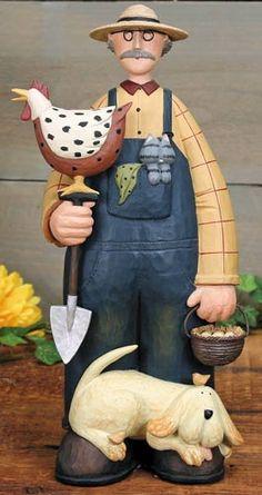 Farmer and His Dog Figurine – Everyday Folk Art Figurines & Collectibles – Williraye Studio - $45.00