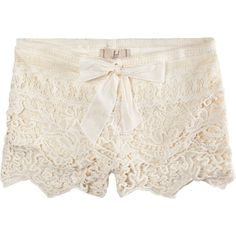 Lost Coronado Lace Tier Womens Shorts (18 AUD) ❤ liked on Polyvore featuring shorts, bottoms, pants, short, cream, short shorts, lacy shorts, lace shorts and lace short shorts