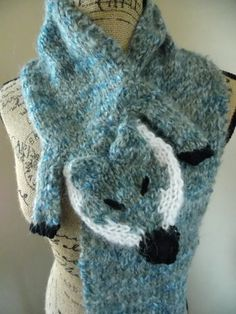 Knit Fox Scarf blue grey mohair faux fur stole by cheshirecatmad