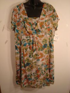 Relativity Woman Plus Size 2X Short Sleeve Multi-Colored Lined Dress - NWT - $66 - Buy It Now for $18.99 with FREE SHIPPING