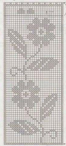 Filet Crochet Charts, Crochet Borders, Crochet Diagram, Knitting Charts, Crochet Patterns, Crochet Curtain Pattern, Crochet Curtains, Crochet Tablecloth, Cross Stitch Bookmarks