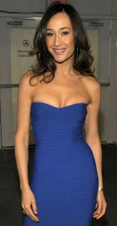 Maggie Q Looking Good in her tight fitting Blue Mini Dress