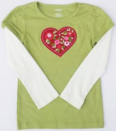 Gymboree Cozy Owl Girls Green Sequence Floral Heart Long Sleeve Shirt Sz 5 NWT #Gymboree #Everyday