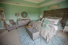 Gray and Aqua bedroom with Rustic barn door headboard