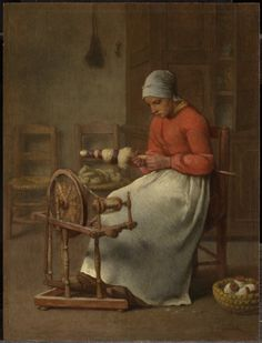 JEAN-FRANÇOIS MILLET FRENCH, 1814–1875  WOMAN SPINNING c. 1855–60