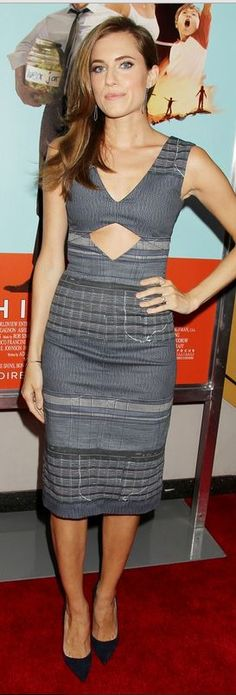 Who made  Allison Williams' gray cut out dress that she wore in New York on July 14, 2014