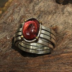 Garnet cabochon statement ring with by Metal Studio Thailand on Etsy. http://metal-studio-thailand.com