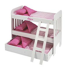 Doll Bunk Bed With Trundle Personalized