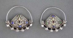 """Iran   Pair of antique silver, silver gilt and glass Turkoman Yomud earrings    Early 20th century.   See similar sample in """" The Arts and Crafts of Turkestan """" by Johannes Kalter, p. 111 and in the Ghysel's Collection in """" A World of Earrings """", by Anne van Cutsem, p. 83.   250$ ~ Sold"""