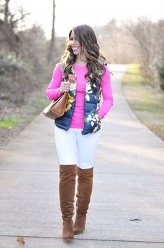 Floral Vest | Pink Shirt | White Jeans | Boots | Purse | Bracelet 1, Bracelet 2, Bracelet 3 | Lipstick: MAC Girl About Town | I used this curling wand on my hair …. To continue with my Valentine's date inspo, I'm sharing this fun outfit that would be perfect for a casual date, ...