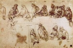 A study for The Last Supper from Leonardo's notebooks showing nine apostles identified by names written above their heads