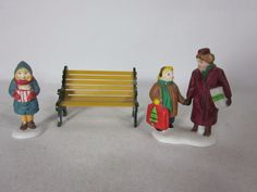 Heritage Village Dept 56 Christmas Figurines with Bench