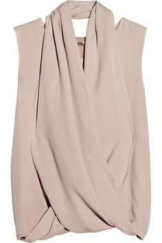 Ports 1961 Criss-cross silk-crepe and chiffon blouse
