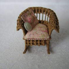 Quarter scale miniature wicker rocking chair by CherylHubbardMinis on Etsy Wicker Rocking Chair, Wicker Furniture, Cheryl, Armchair, Scale, Miniatures, Handmade, Etsy, Home Decor