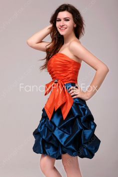 Unique Orange and Blue Short Pick up Graduation Gown at fancyflyingfox.com High School Graduation, Graduate School, Graduation Dresses, Strapless Dress Formal, Formal Dresses, Formal Wedding, Blue Shorts, Pageant, Blue Dresses