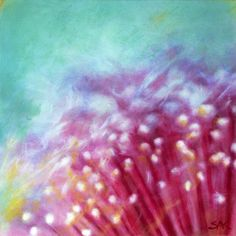 Bottlebrush Flower Abstract, Pastel Painting, © Copyright 2017 by Sheryl Karas Small Canvas Prints, Bottlebrush, Extreme Close Up, Moving To California, Free Canvas, Eye Make Up, Stretched Canvas, Acrylics, Pastel