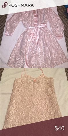👙 Llingerie Set Llingerie set baby pink all Lace (see through) worn 2-3 times if that Intimates & Sleepwear Robes