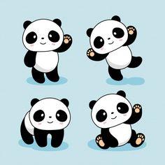 Panda Kawaii, Cute Panda Cartoon, Cute Doodle Art, Cute Doodles, Panda Wallpapers, Cute Cartoon Wallpapers, Cute Animal Drawings Kawaii, Cute Drawings, Cute Panda Drawing