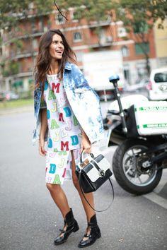 Chiara Totire, 13 street style photos from Milan Fashion Week #MFW #print #denim