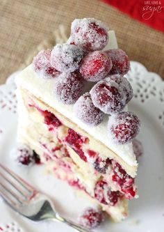 Sparkling Cranberry White Chocolate Cake   14 Christmas Cake Recipes To Make Anytime Of The Year   Best Sweet Treats For The Holiday by Homemade Recipes at http://homemaderecipes.com/entertaining/christmas/christmas-cake-recipes/