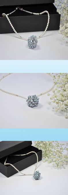 Fine and delicate handmade choker, the central is made with Swarovski crystal beads, and the petals in glass pearls. Total length of the open choker is 46 cm.  Offer 10% discount until the 15th May on all Items,check for coupon code on my Etsy shop. www.e